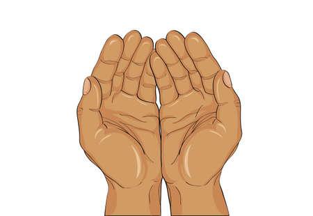 Gesto palmi aperti. Mani dà o riceve. Illustrazione vettoriale su sfondo bianco. Spazio vuoto per la pubblicità