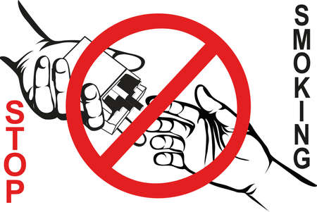 No smoke. Reject the offer of cigarettes. The concept of tobacco control. A pack of cigarettes in hand with a prohibitory sign. Vector. Poster on a white background