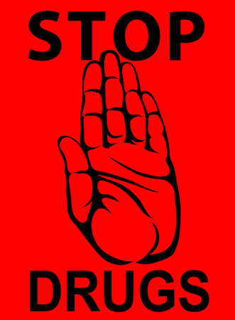 No Drugs. The hand shows a gesture of stop. Vector. Poster on a red background.