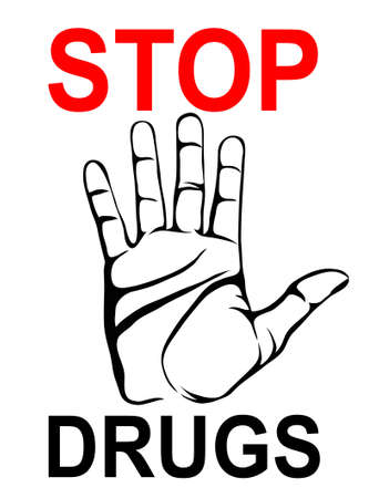 No Drugs. The hand shows a gesture of stop. Vector. Poster on a white  background.