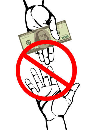 Corruption. Hand Keeps money dollars. Vector. Poster on white background.