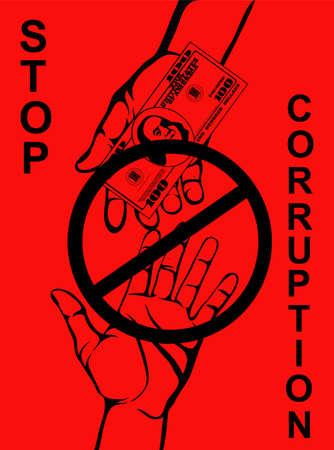 Corrupción. Mano mantiene dólares de dinero. Vector. Cartel sobre fondo rojo.