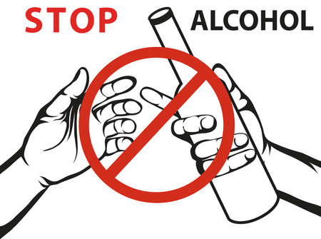 Stop the alcohol. A man offers a drink, holding a bottle in his hand.Vector.Prohibiting red sign. Poster on white background