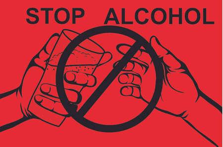 Stop de alcohol. Een man biedt een drankje aan, een glas met bier vasthoudend. Verbod op rood bord. Poster op rode achtergrond