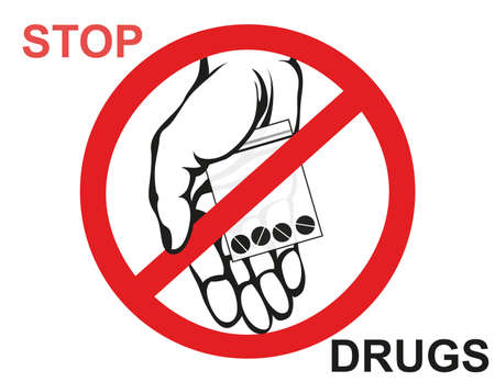 Concept without drugs. Decline the tablets. The hand gives drugs. Vector. Prohibition sign. Poster.