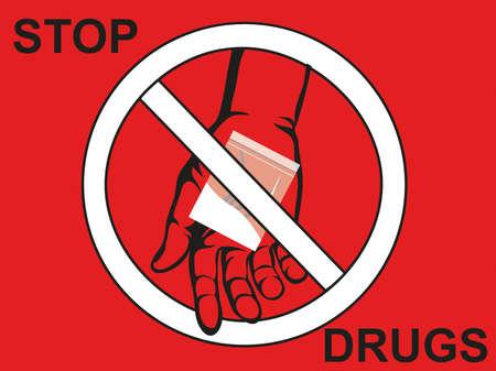 Concept sans drogue. Diminuer la fissure. La main donne des drogues. Vecteur. Signe d'interdiction. Affiche sur fond rouge. Vecteurs