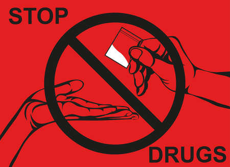 Concept without drugs. Decline the crack. The hand gives drugs. Vector. Prohibition sign. Poster on red background. Stock Illustratie