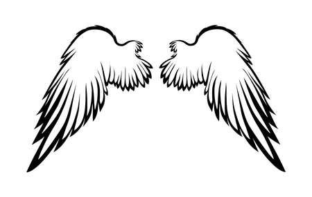 two birds: Wings. Vector illustration on white background. Black and white style. Linocut.