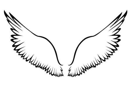 Wings. Vector illustration on white background. Black and white style. Linocut.
