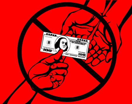 Corruption. Hand Keeps money dollars. Vector. Poster on the red background