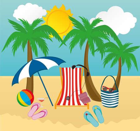 Summer beach accessories.Vector.