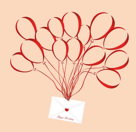 Luft mehrfarbige Ballons heben einen Umschlag oder einen Brief mit Herzen an. Valentinstag. Liebe. Vektor. Grußkarte oder Einladung für einen Urlaub.