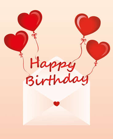 Letters of happy birthday on the balls in the form of a heart fly out of the envelope. Greeting card or invitation for a holiday. Vector. Copy space for text.