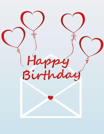 Briefe von glücklichen Geburtstag auf den Bällen in Form eines Herzens fliegen aus dem Umschlag. Grußkarte oder Einladung für einen Urlaub. Vektor. Kopieren Sie Platz für Text.