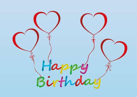 Ballons in der Form des Herzens mit Band und Bogen halten das Wort Happ Geburtstag. Für den Urlaub und die Party. Rote aufblasbare Kugeln. Einladung und Feiertagskarte. Freier Platz für Text oder Text. Vektor. Illustration