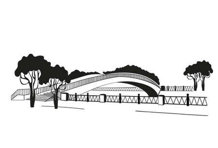 Die Brücke ist silhouettiert. Grafischer Stil von Linolschnitt. Schwarz und weiß. Vektor-Illustration Illustration