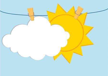 Weiße Wolken und Sonne hängen an einem Seil mit Wäscheklammern. Vektor. Freier Platz für Text oder Werbung