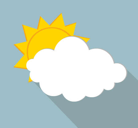 White clouds and sun. Vector. Free space for text or advertising