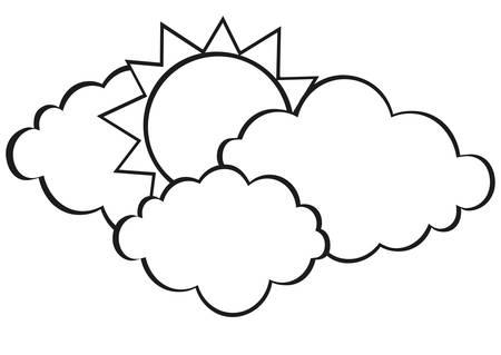 Wolken und Sonne. Vektor. Kontur. Schwarz und weiß. Freier Platz für Text oder Werbung Illustration