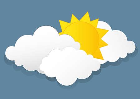 Weiße Wolken und Sonne. Vektor. Freier Platz für Text oder Werbung Illustration