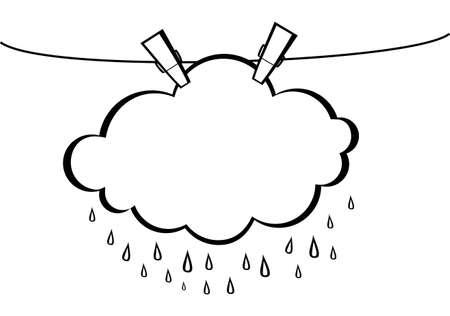 Wolke mit Regen Tropfen hängen an einem Seil mit Wäscheklammern. Vektor. Schwarz-Weiß-Stil. Linolschnitt Kontur