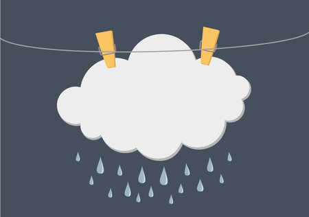 Cloud with Rain drop hang on a rope with clothespins. Vector. Free space for text or advertising