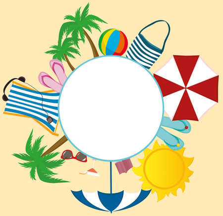 Summer beach accessories. Banner design with white circle for text. Illustration