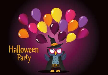 Halloween. Die Eule im Anzug wirft viele traditionelle Ballons in die Luft. Grußkarte oder Einladung für einen Urlaub. Ein Leerzeichen für Ihren Text oder Ihre Werbung. Vektor.