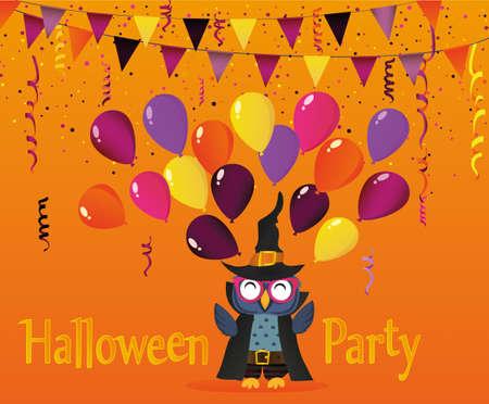 Halloween. Die Eule im Anzug wirft viele traditionelle Ballons in die Luft. Grußkarte oder Einladung für einen Urlaub. Karneval mit Fahnen Girlande.Ein Leerzeichen für Ihren Text oder Werbung. Vektor. Illustration