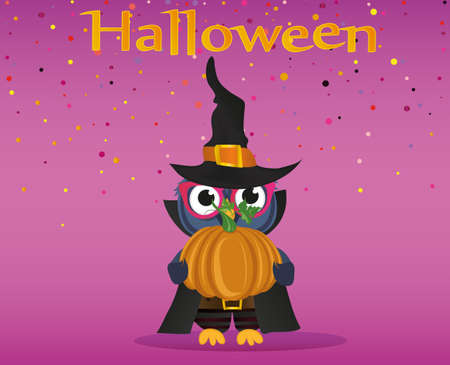 Halloween. Owl in a suit holds a pumpkin. Greeting card or invitation for a holiday .. Empty place for your text or advertisement. Vector.