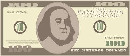 100 Dollar Geldschein-Ikonen. Detaillierte Währung Banknoten. Cartoon amerikanischen Dollar. Vektor-Illustration