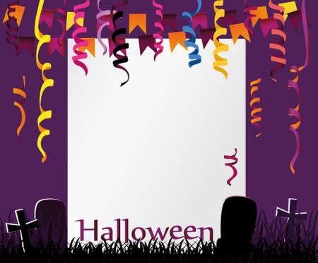 Halloween Karneval mit Fahnen Girlande. Vektor. Das Konzept einer Einladung zu einer Party in traditionellen Farben mit einem Platz für Ihren Text. Gräber Illustration