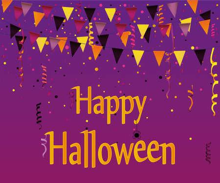 Halloween Karneval mit Fahnen Girlande. Vektor. Das Konzept einer Einladung zu einer Party in traditionellen Farben. Gräber