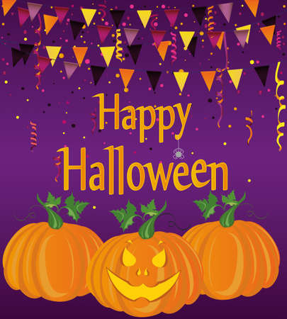 Halloween Carnival with flags Garlands. Vector. The concept of an invitation to a party in traditional colors. Graves. Illustration