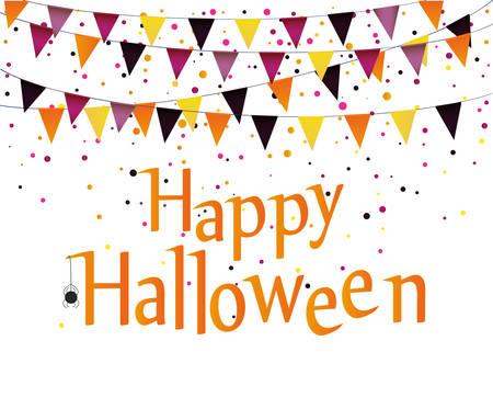 Halloween Karneval mit Fahnen Girlande. Vektor. Das Konzept einer Einladung zu einer Party in traditionellen Farben.