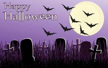 Halloween. Nacht mit dem Mond und Fledermäuse. Vektor. Das Konzept einer Einladung zu einer Party in traditionellen Farben mit einem Platz für Ihren Text. Grabsteine Illustration