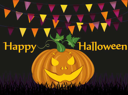 Halloween Karneval mit Fahnen Girlande und Kürbisse. Vektor. Das Konzept einer Einladung zu einer Party in traditionellen Farben. Illustration
