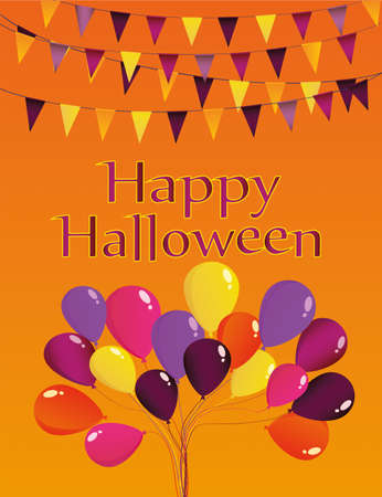 Halloween Carnival with flags Garlands with balloons. Greeting card or invitation. Empty space for text or your advertisement.