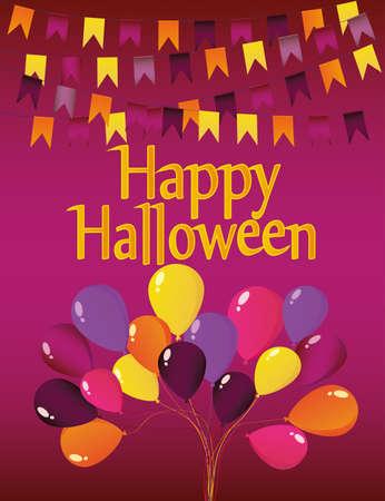 Halloween Karneval mit Fahnen Girlande mit Ballons.
