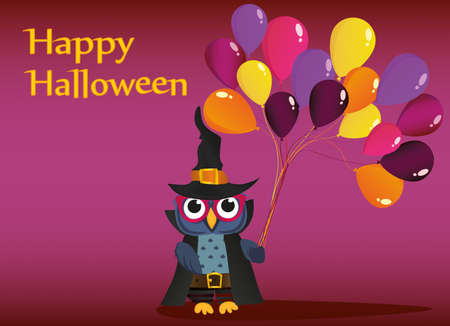 Halloween. Owl in a hat with balloons of traditional colors. Empty place for text. Vector illustration. poster Illustration