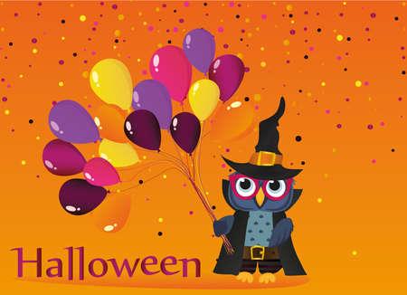 Halloween. Eule in einem Hut mit Ballons von traditionellen Farben. Leerer Platz für Text. Vektor-Illustration. Poster.