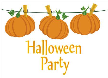 Halloween. Kürbisse hängen an Wäscheklammern. Vektor. Der Urlaub von Oktober und Herbst.