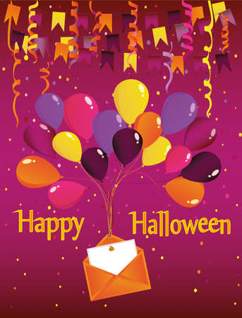 Halloween. Carnival with flags Garland with balloons with an envelope and an invitation to a party. Greeting card. Empty space for text or your advertising. vector illustration.