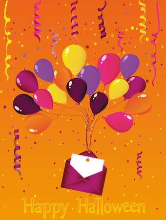 Halloween. Karneval mit Fahnen Girlande mit Ballons mit einem Umschlag und einer Einladung zu einer Party. Grußkarte. Leeren Sie Platz für Text oder Ihre Werbung. Vektor-Illustration.