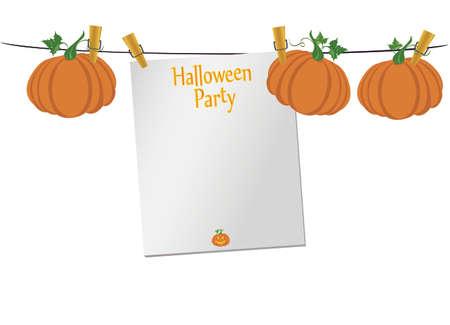 Halloween. Leere leere Einladung für eine Party mit einem Kürbis, der an Wäscheklammern hängt. Vektor. Das Fest von Oktober und Herbst