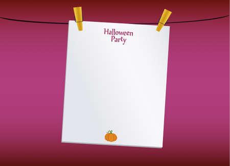 Halloween. Leere leere Einladung für eine Party mit einem Kürbis, der an Wäscheklammern hängt. Vektor. Das Fest von Oktober und Herbst.