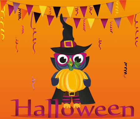 Halloween. Owl in a suit holds a pumpkin. Greeting card or invitation for a holiday. Empty place for your text or advertisement. vector illustration. Illustration