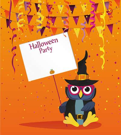 Halloween. Eule in einem Hut mit einer Einladung zu einer Party. Leerraum für Text. Vektor-Illustration. Poster.