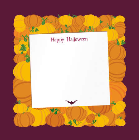 Halloween. Pumpkins in the form of a square. Greeting card or invitation for a holiday. Empty form for text or message. Vector. Illustration