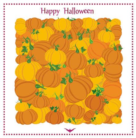 Halloween. Kürbisse in Form eines Platzes. Grußkarte oder Einladung für einen Urlaub. Leere Form für Text oder Nachricht. Vektor.